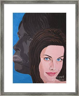 Framed Print featuring the painting Liv Tyler With Silhouet Steven Tyler by Jeepee Aero
