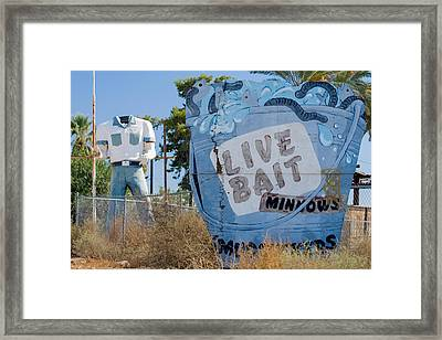 Live Bait Sign And Muffler Man Statue Framed Print