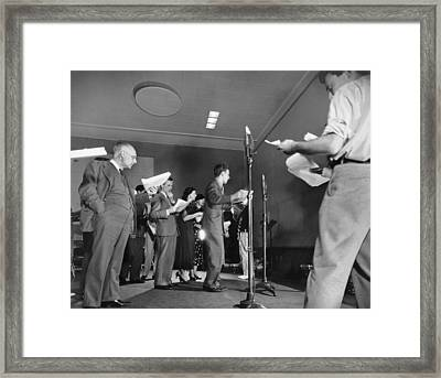 Live Broadcasting Cast Framed Print by Underwood Archives