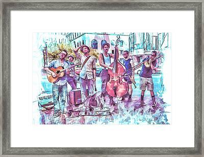 Live Jazz In Asheville Framed Print by John Haldane