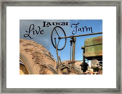Live Laugh Farm Tractor Framed Print