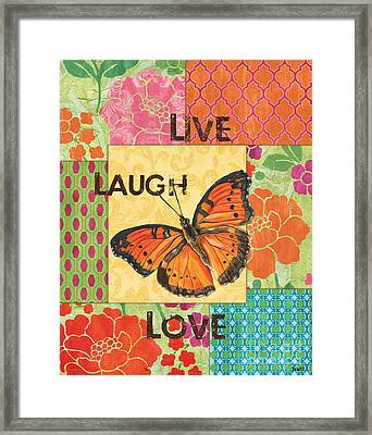 Live Laugh Love Patch Framed Print by Debbie DeWitt