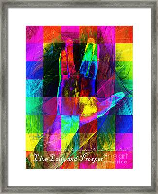Live Long And Prosper Spock 20150302v3 Color Squares With Text Framed Print by Wingsdomain Art and Photography