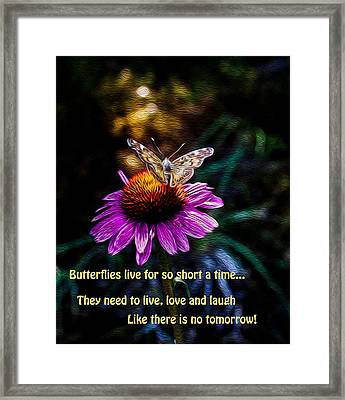Live Love And Laugh Like There Is No Tommorow Framed Print