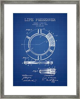 Live Preserver Patent From 1902 - Blueprint Framed Print by Aged Pixel