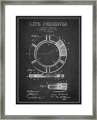 Live Preserver Patent From 1902 - Charcoal Framed Print by Aged Pixel