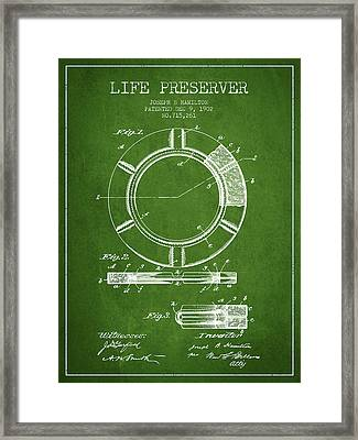 Live Preserver Patent From 1902 - Green Framed Print