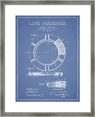 Live Preserver Patent From 1902 - Light Blue Framed Print by Aged Pixel