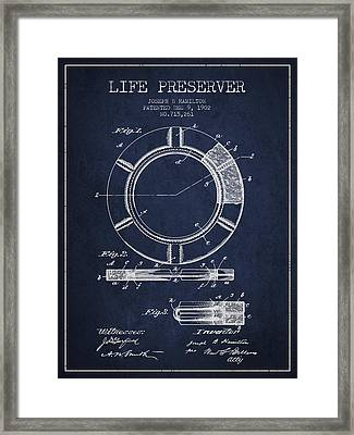 Live Preserver Patent From 1902 - Navy Blue Framed Print