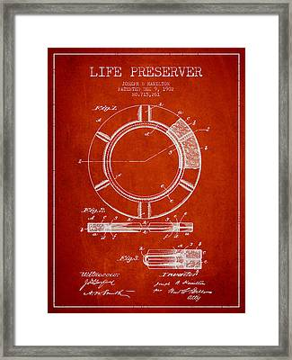 Live Preserver Patent From 1902 - Red Framed Print by Aged Pixel