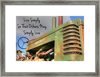 Live Simply Framed Print by Heather Allen