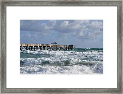 Lively Surf At Juno Framed Print by Laura Fasulo