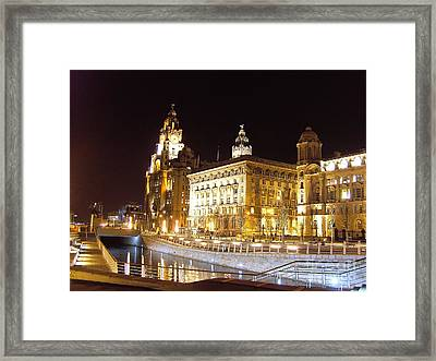 Liver Building And Canal Liverpool Uk Framed Print