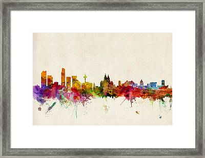Liverpool England Skyline Framed Print by Michael Tompsett