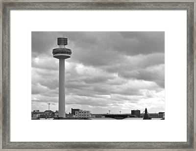 Liverpool Skyline With Radio City Tower Framed Print by Georgia Fowler