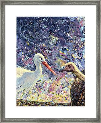 Living Between Beaks Framed Print