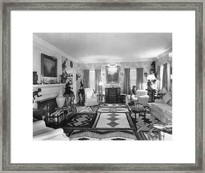 Living Room Of J. Edgar Hoovers Living Framed Print by Everett
