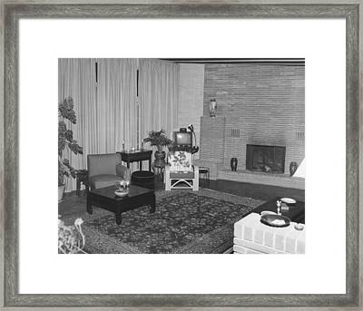 Living Room With A Tv Framed Print