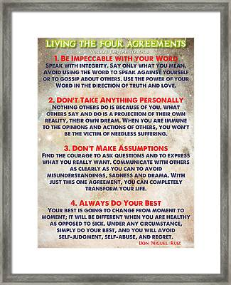 Living The Four Agreements - Wisdom Of The Toltecs Framed Print by Celestial Images