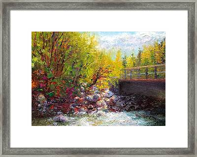 Framed Print featuring the painting Living Water - Bridge Over Little Su River by Talya Johnson