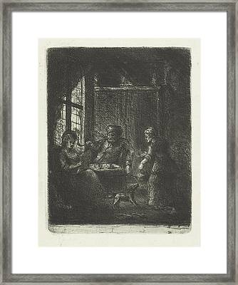 Living With Couple, Jan Chalon Framed Print