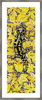 Framed Print featuring the painting Lizard In Yellow Nature - Elena Yakubovich by Elena Yakubovich