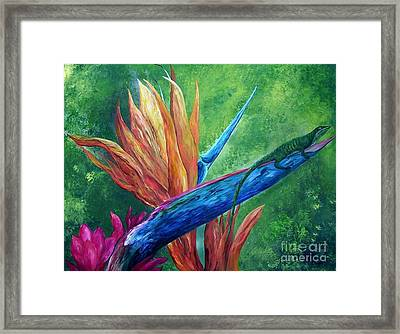 Framed Print featuring the painting Lizard On Bird Of Paradise by Eloise Schneider