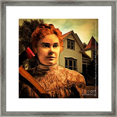 Lizzie Borden Took An Ax 20141226 Square With Text Framed Print by Wingsdomain Art and Photography