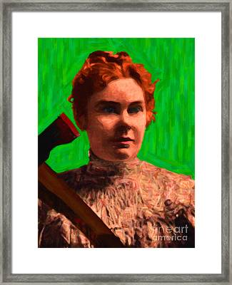 Lizzie Bordon Took An Ax - Painterly - Green Framed Print by Wingsdomain Art and Photography