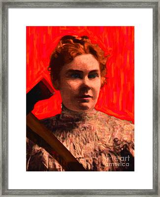 Lizzie Bordon Took An Ax - Painterly - Red Framed Print by Wingsdomain Art and Photography