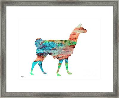 Llama Framed Print by Watercolor Girl