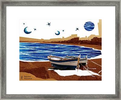 Llunes Blaves - Platja Vilassar De Mar  Framed Print