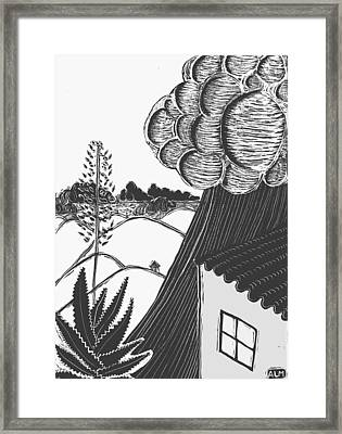 Framed Print featuring the drawing Lluvia by Aurora Levins Morales