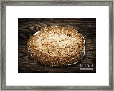 Loaf Of Multigrain Artisan Bread Framed Print by Elena Elisseeva