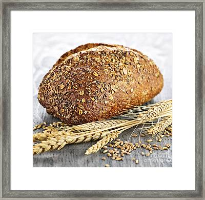 Loaf Of Multigrain Bread Framed Print by Elena Elisseeva