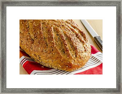 Loaf Of Whole Grains And Seeded Bread Framed Print by Teri Virbickis