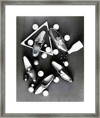 Loafers With Pool Equipment Framed Print