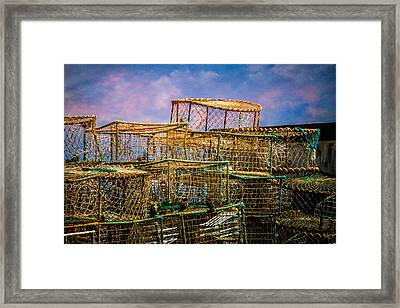 Lobster Baskets And Starlings Framed Print by Chris Lord