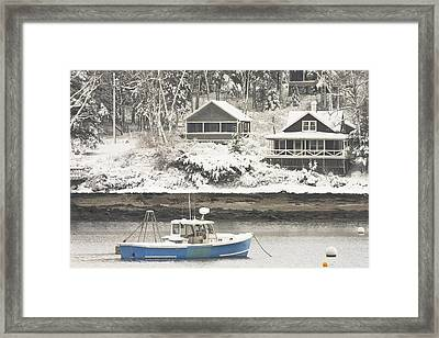 Lobster Boat After Snowstorm In Tenants Harbor Maine Framed Print by Keith Webber Jr