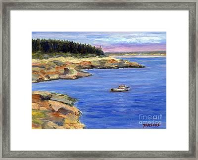 Lobster Boat In Jonesport Maine Framed Print by Pamela Parsons