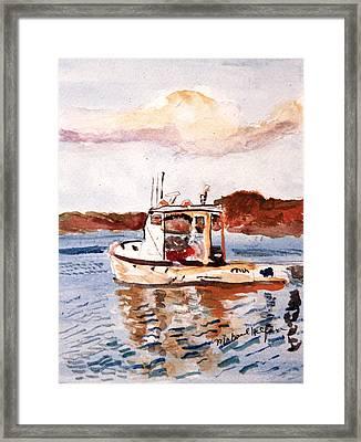 Lobster Boat Framed Print by Michael Helfen