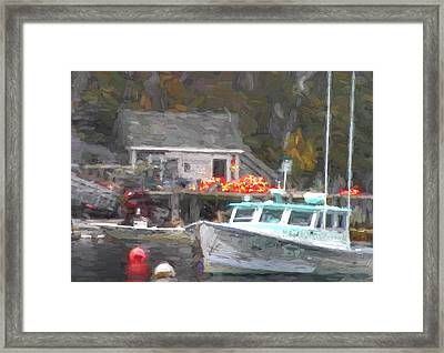 Lobster Boat New Harbor Maine Painterly Effect Framed Print