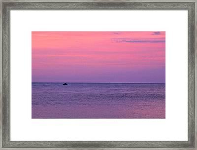 Lobster Boat Under Purple Skies Framed Print