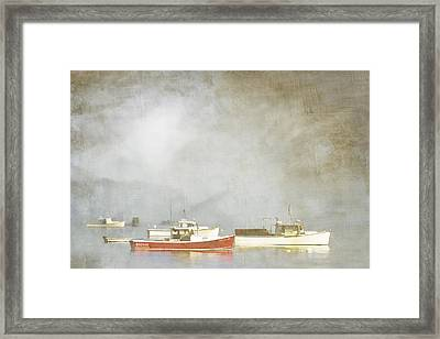 Lobster Boats At Anchor Bar Harbor Maine Framed Print by Carol Leigh