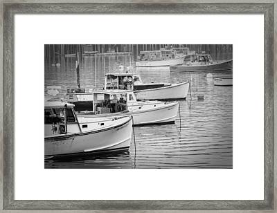 Lobster Boats In Bass Harbor And Bernard Maine  Framed Print