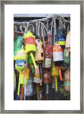 Lobster Buoys Painterly Effect Framed Print