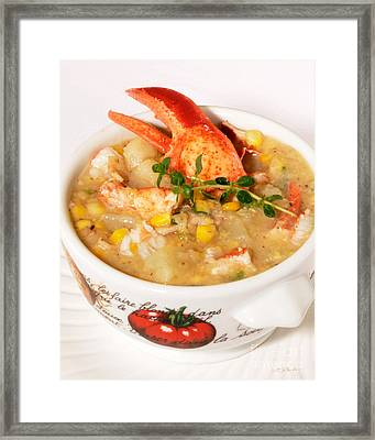 Lobster Chowder With Corn And Poblano Peppers Framed Print