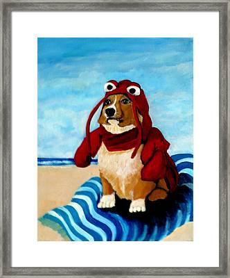 Lobster Corgi On The Beach Framed Print