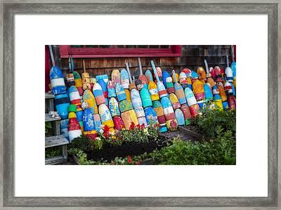 Lobster Fishing Buoys Framed Print by Susan Candelario