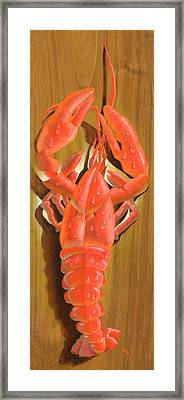 Lobster On A Plank Framed Print by Doreta Y Boyd